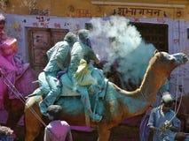 FESTIVAL DE LOS COLORES EN CAMELLOS EN PUSHKAR RAJASTAN LA INDIA Imágenes de archivo libres de regalías