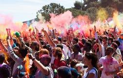Festival de los colores Holi Barcelona imagen de archivo libre de regalías