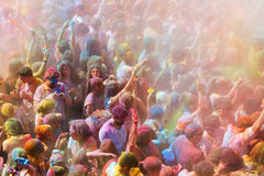 Festival de los colores Holi in Barcelona. BARCELONA, SPAIN - APRIL 12, 2015: People at  Festival de los colores Holi in Barcelona. Holi is traditional holiday Stock Images