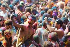 Festival de los colores Holi en Barcelona Imagenes de archivo
