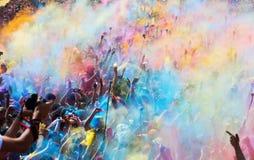 Festival de los colores Holi en Barcelona Fotos de archivo libres de regalías