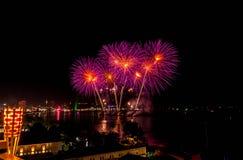 Festival de los fuegos artificiales en Pattaya Foto de archivo libre de regalías