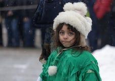 Festival de los juegos Surova de la mascarada en Breznik, Bulgaria Foto de archivo