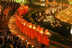 Festival de Loy Krathong en Wat Pan Tao Imagen de archivo libre de regalías