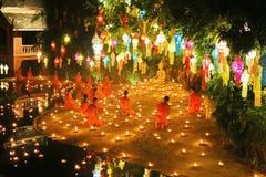 Festival de Loy Krathong en Wat Pan Tao Imagen de archivo