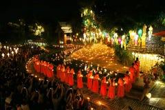 Festival de Loy Krathong en Wat Pan Tao Foto de archivo libre de regalías