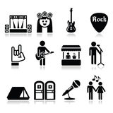 Festival de música, ícones vivos do concerto ajustados Fotos de Stock Royalty Free