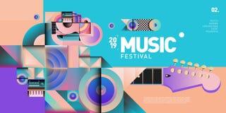 Festival de música colorido del vector para la bandera y el cartel del acontecimiento stock de ilustración