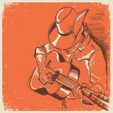 Festival de música country americano com o músico que joga a guitarra sobre ilustração stock