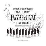 Festival de música de jazz, plantilla del fondo del cartel teclado con las notas de la música Vector Fotos de archivo