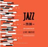 Festival de música de jazz, plantilla del fondo del cartel Teclado con llaves de la música Diseño del vector del aviador Fotografía de archivo