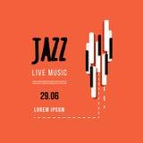 Festival de música jazz, molde do fundo do cartaz Teclado com chaves da música Projeto do vetor do inseto Fotos de Stock Royalty Free