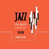 Festival de música jazz, molde do fundo do cartaz Teclado com chaves da música Projeto do vetor do inseto Foto de Stock