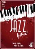 Festival de música de jazz, plantilla del fondo del cartel teclado con las notas de la música Diseño del vector del aviador stock de ilustración