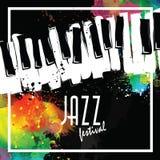 Festival de música de jazz, plantilla del fondo del cartel teclado con las notas de la música Diseño del vector del aviador ilustración del vector