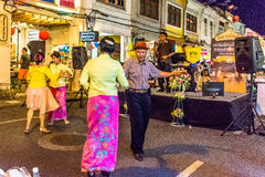 Festival de marche de rue de nuit de ville de Phuket photo stock