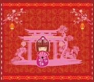 Festival de mediados de otoño por el Año Nuevo chino - tarjeta stock de ilustración