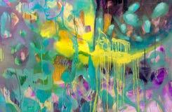 Festival de mola Pintura colorido da textura Fundo da arte abstrata Acrílico na lona Pinceladas ásperas da pintura ilustração royalty free
