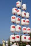 Festival de moyen des textes de lanternes japonaises Photos stock
