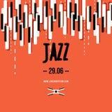 Festival de música jazz, molde do fundo do cartaz Teclado com chaves da música Projeto do vetor do inseto Fotografia de Stock Royalty Free