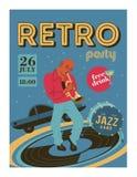 Festival de musique d'affiche, rétro partie dans le style des années 70, les années 80 Le musicien joue la trompette Jazz Music I illustration de vecteur