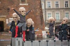 Festival de nuit de théâtre de Cracovie - KTO Teatre dans la place principale du marché Image stock