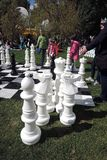 Festival de Polytech en parc de Gorki, Moscou Échecs énormes Images stock