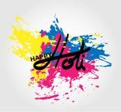 Festival de printemps de Holi de couleurs saluant des éléments pour le design de carte Photographie stock