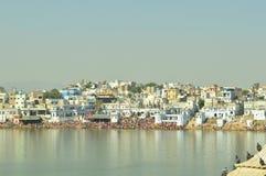 Festival de Pushkar par le lac Photographie stock