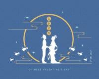 Festival de Qixi ou o dia de Valentim chinês - menina do cowherd & do tecelão ilustração royalty free
