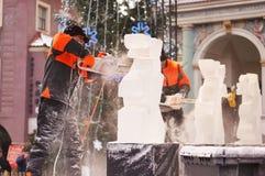 Festival de sculpture en glace à Poznan Images stock