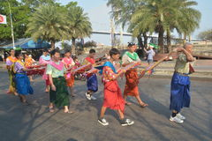 Festival de Songkran en el estilo de Tailandés-lunes Foto de archivo libre de regalías
