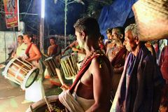 Festival de temple au Kerala Chenda Melam Image libre de droits