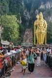Festival 2012 de Thaipusam: Terminando la celebración cansada y satisfecha Imagenes de archivo
