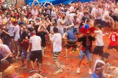 Festival de Tomatina do La fotografia de stock