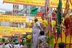 Festival de végétarien de nourriture de rue de ville de Bangkok Chine Photos stock