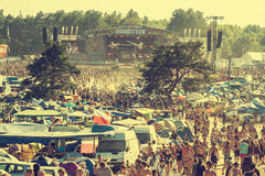 Festival de Woodstock, o festival de música rock livre o mais grande do bilhete de ar livre do verão em Europa, Polônia Imagem de Stock