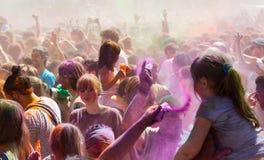 Festival dei colori Holi Barcellona Immagini Stock