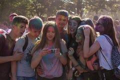 Festival dei colori - selfie Fotografie Stock Libere da Diritti