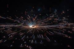 Festival dei cracker delle luci che sono sbottati alla notte fotografia stock