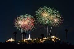 Festival dei fuochi d'artificio in Tailandia Fotografia Stock