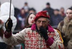Festival dei giochi Surova di travestimento in Breznik, Bulgaria Immagini Stock Libere da Diritti