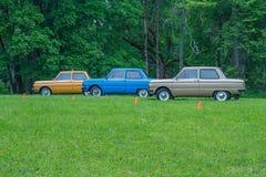 Festival del coche del Oldtimer, ZAZ, ciudad Koknese, Letonia 2012 Ca retro fotos de archivo libres de regalías