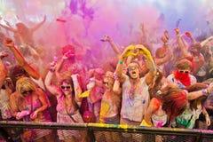 Festival del color Holi un partido Foto de archivo libre de regalías
