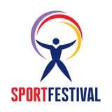 Festival del deporte - logotipo en estilo gráfico clásico Imagen de archivo