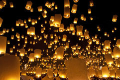Festival del fuego artificial de las linternas del cielo Imagenes de archivo