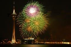Festival del fuego artificial de Macau Foto de archivo libre de regalías