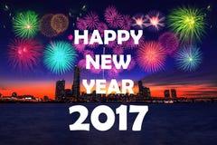 Festival del fuego artificial y Feliz Año Nuevo Imagen de archivo