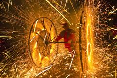 Festival del fuego de las regiones catalanas Imagen de archivo