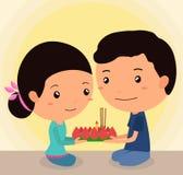Festival 2 del krathong de Loy de los personajes de dibujos animados Foto de archivo